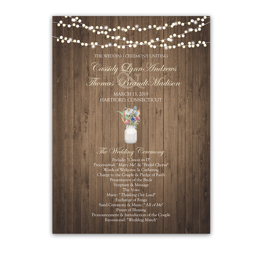 Rustic Mason Jar Wildflowers Custom Wedding Program