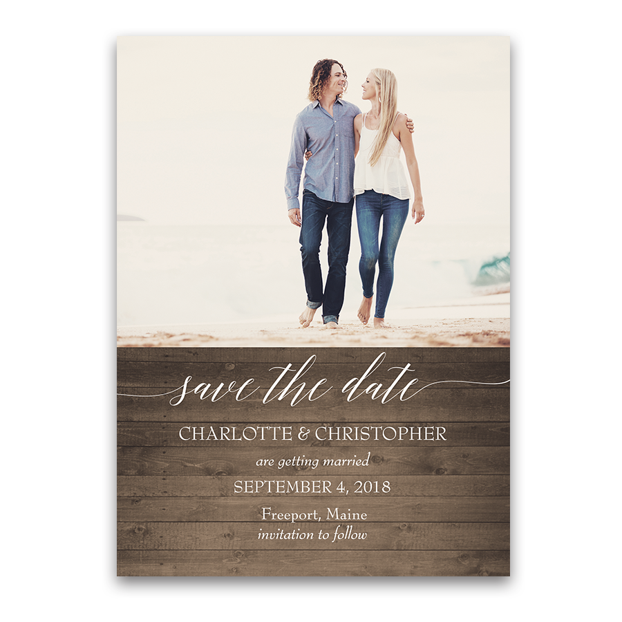 Rustic Wood Wedding Photo Save the Date Cards