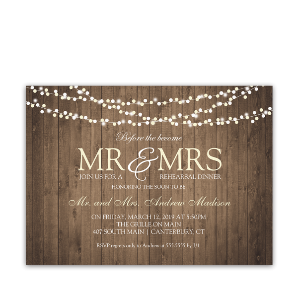 Rustic String Lights Wedding Rehearsal Dinner Invite