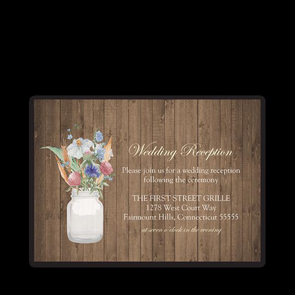 Rustic Mason Jar Wildflower Wedding Reception Card