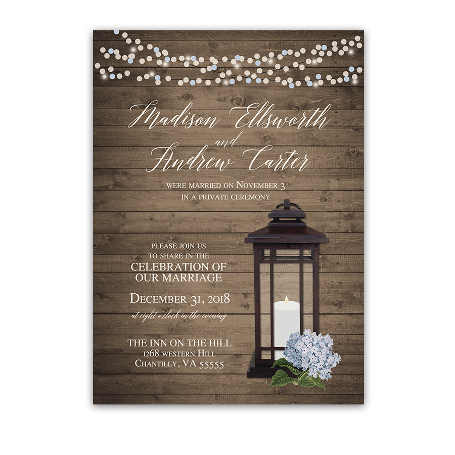 rustic lantern wedding reception only invitations blue hydrangeas