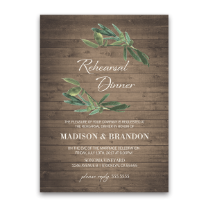 Rustic Wedding Rehearsal Dinner Invitation with Greenery