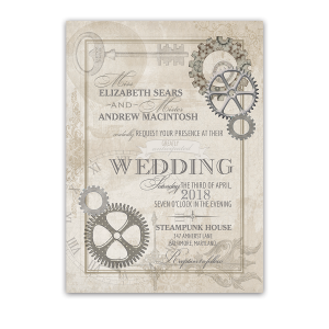 Steampunk Wedding Vintage Industrial Chic Invitations