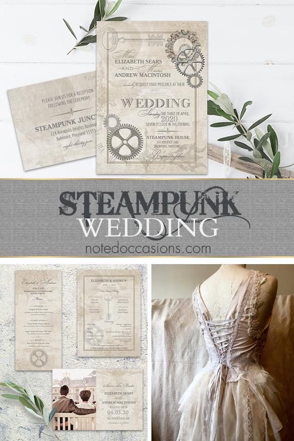Steampunk Wedding Vintage Industrial Chic Invitations