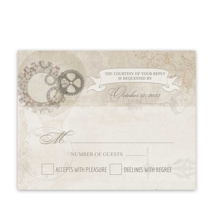 Steampunk Wedding RSVP Cards with Gears