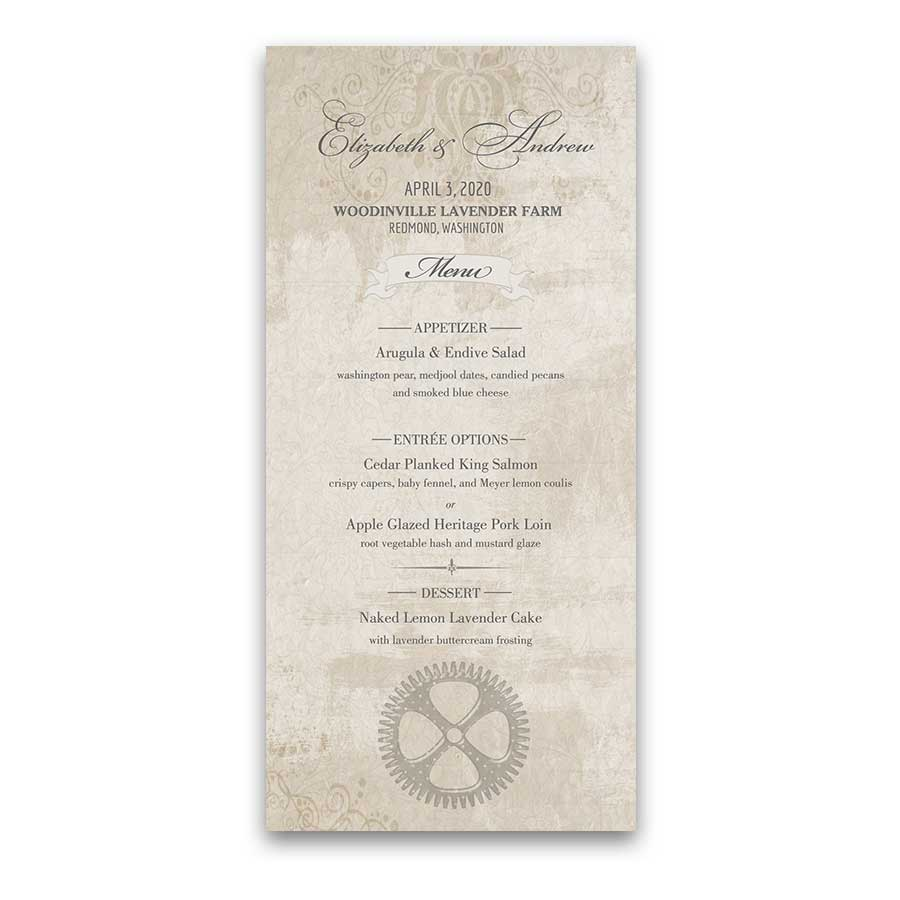 Steampunk Wedding Menu Template Vintage Industrial Gears