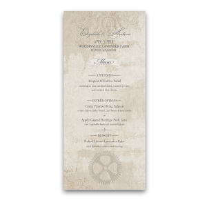 Steampunk Wedding Vintage Industrial Chic Menus