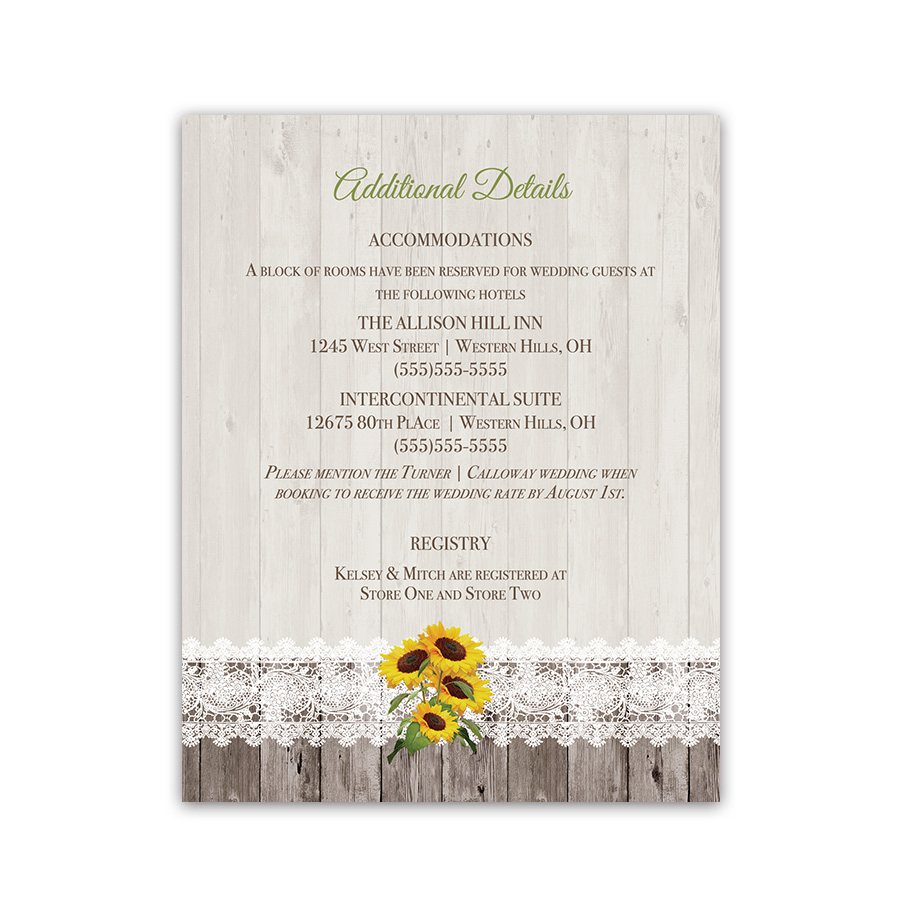 Sunflower Wedding Guest Information Card Insert