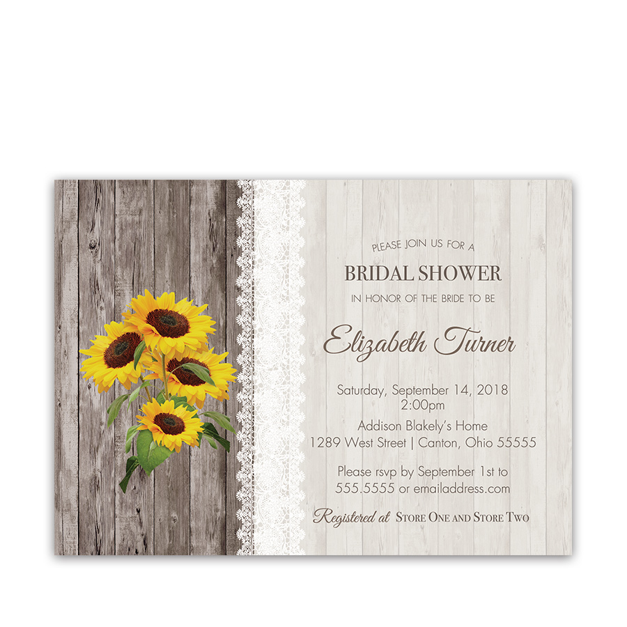 Sunflower wedding invitation archives noted occasions unique and sunflower and lace rustic bridal shower invitation filmwisefo Images