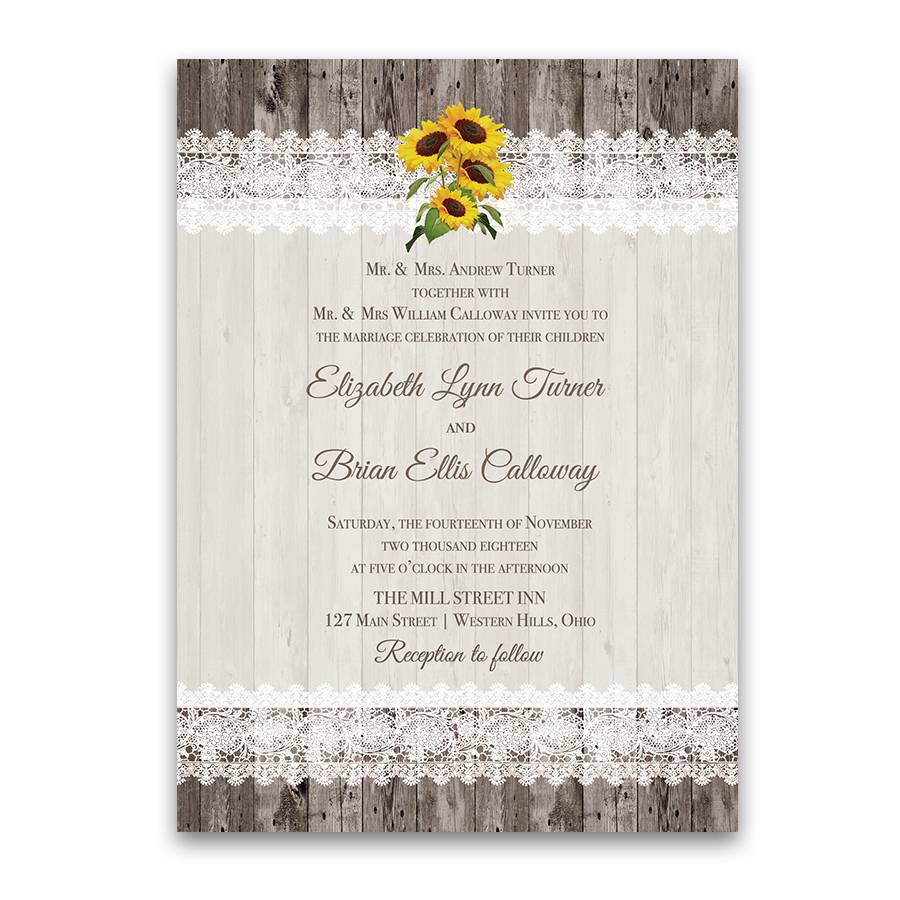 Rustic Sunflower Wedding Invitations Barn Wood and Lace