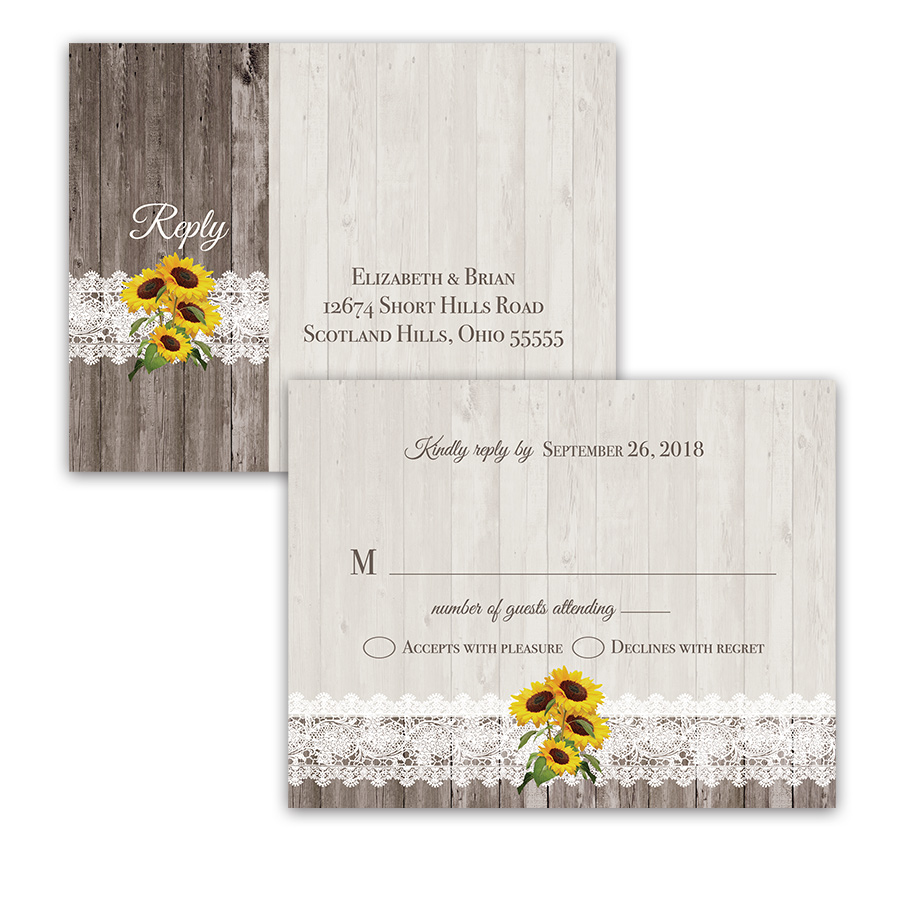 Rustic Country Sunflower Wedding RSVP Postcard