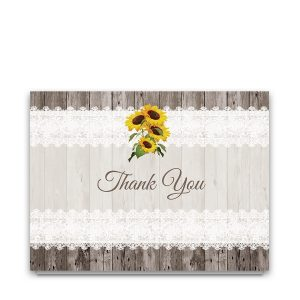 Sunflower Wedding Thank You Notes Lace Barn Wood