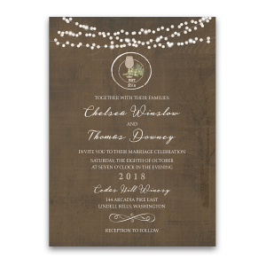 Rustic Vintage Winery Vineyard Wedding Invitations