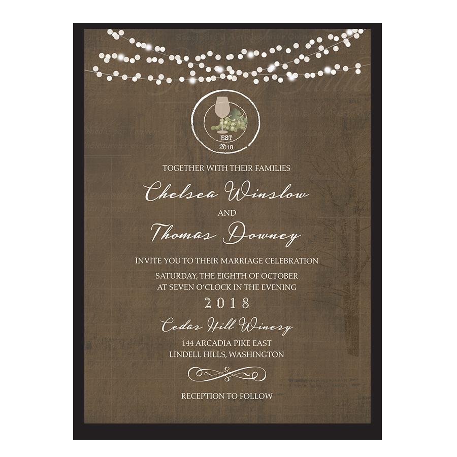 rustic vintage winery vineyard wedding invitations