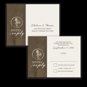 Rustic Vineyard Vintage Wine Glass Wedding RSVP Postcard