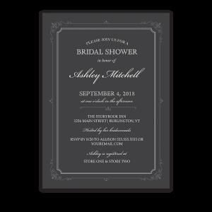 Vintage Border Scrolls Gray Bridal Shower Invitations