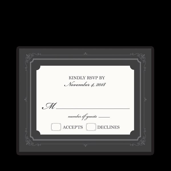 Vintage Scrolls Gray Wedding RSVP Response Cards