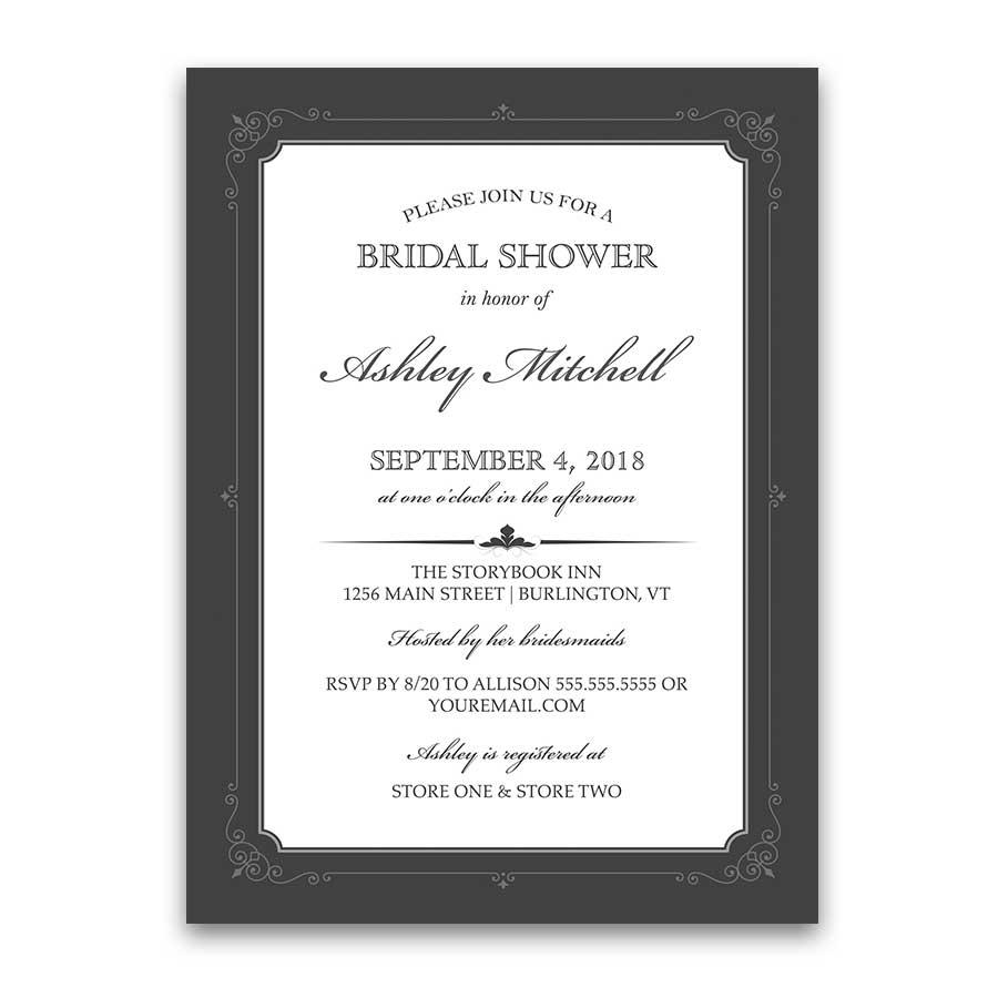 Vintage Bridal Shower Invitations Gatsby Style Elegant Border