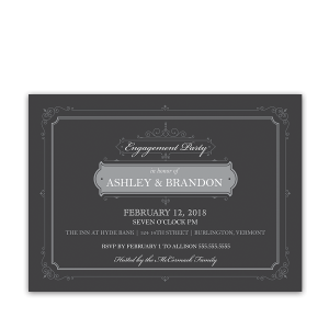 Vintage Gray Border Engagement Party Invitation