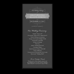Vintage Scrolls Charcoal Wedding Order of Service