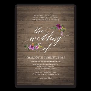 Rustic Burgundy Purple Floral Script Wedding Invitations