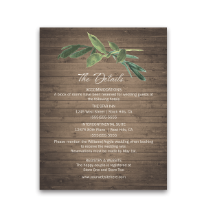 Rustic Wedding Additional Guest Information Card