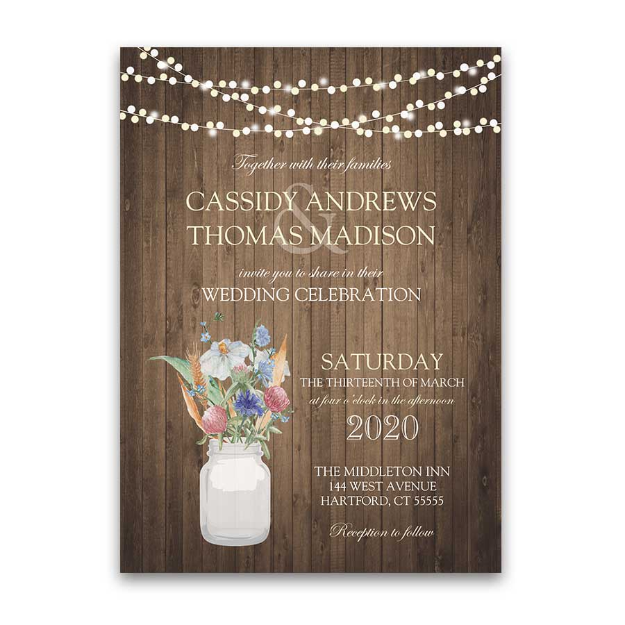 Wildflower Wedding Invitations Mason Jar Wedding Inspirations