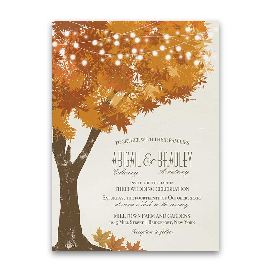 Fall Wedding Invitations Rustic Tree Autumn Leaves in Gold