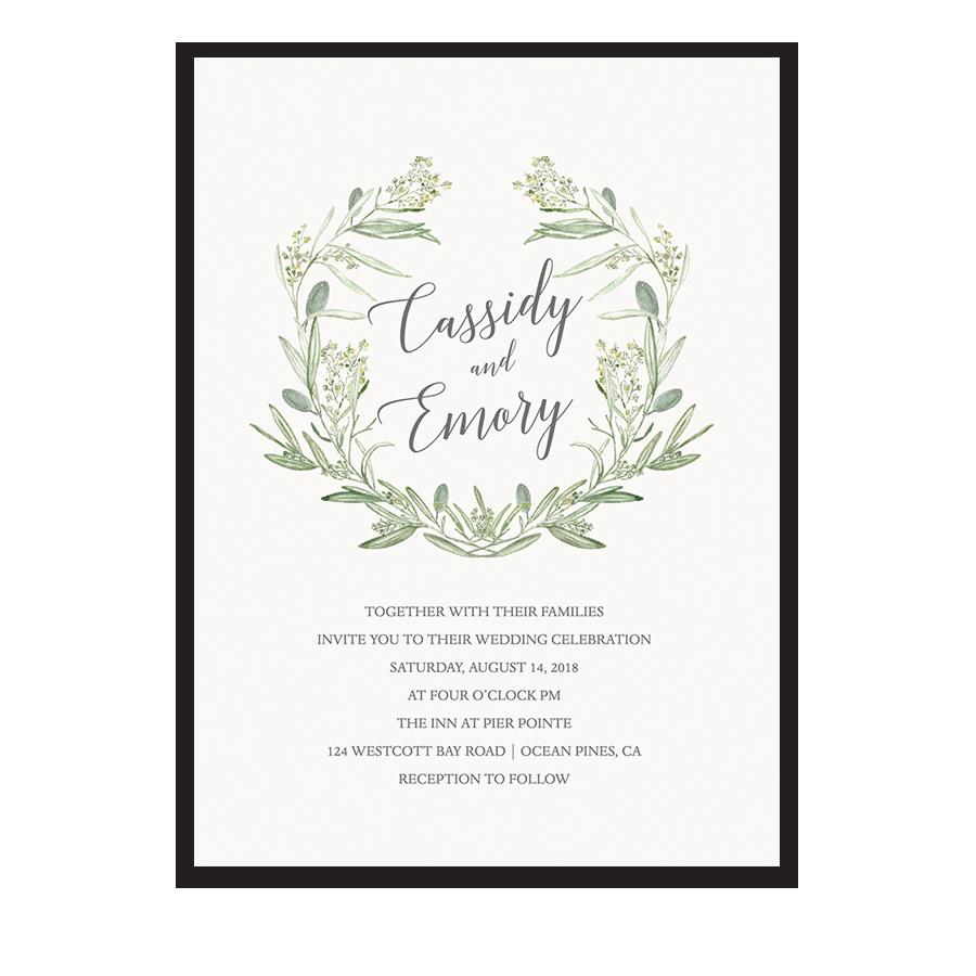 Watercolor Wreath Greenery Wedding Invitations Laurel Greens
