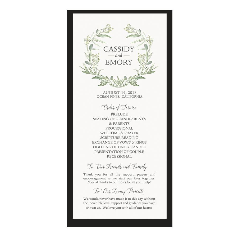 Greenery Wreath Wedding Program Order Of Service
