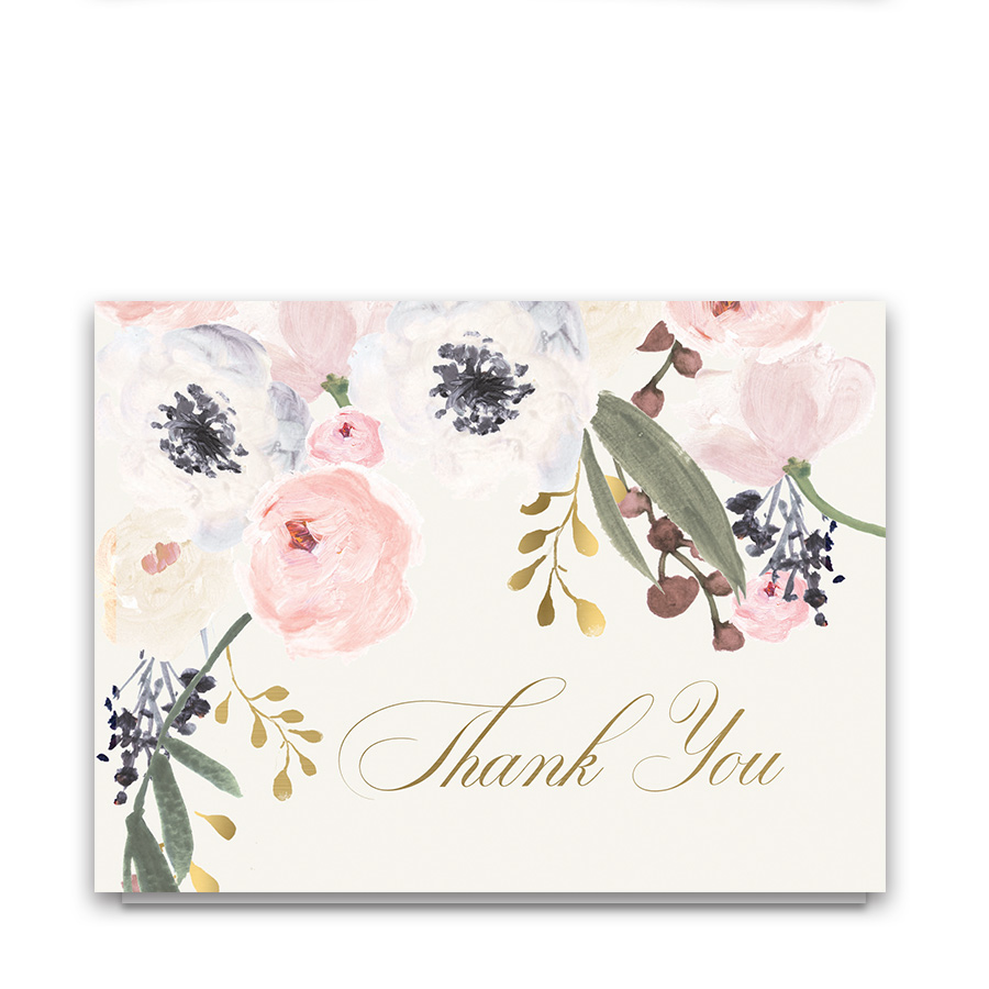 Blush Gold Watercolor Floral Wedding Thank You Card