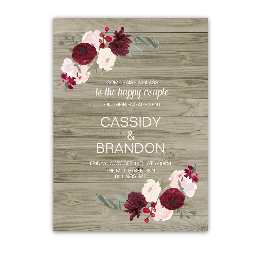Burgundy and Blush Engagement Party Invite