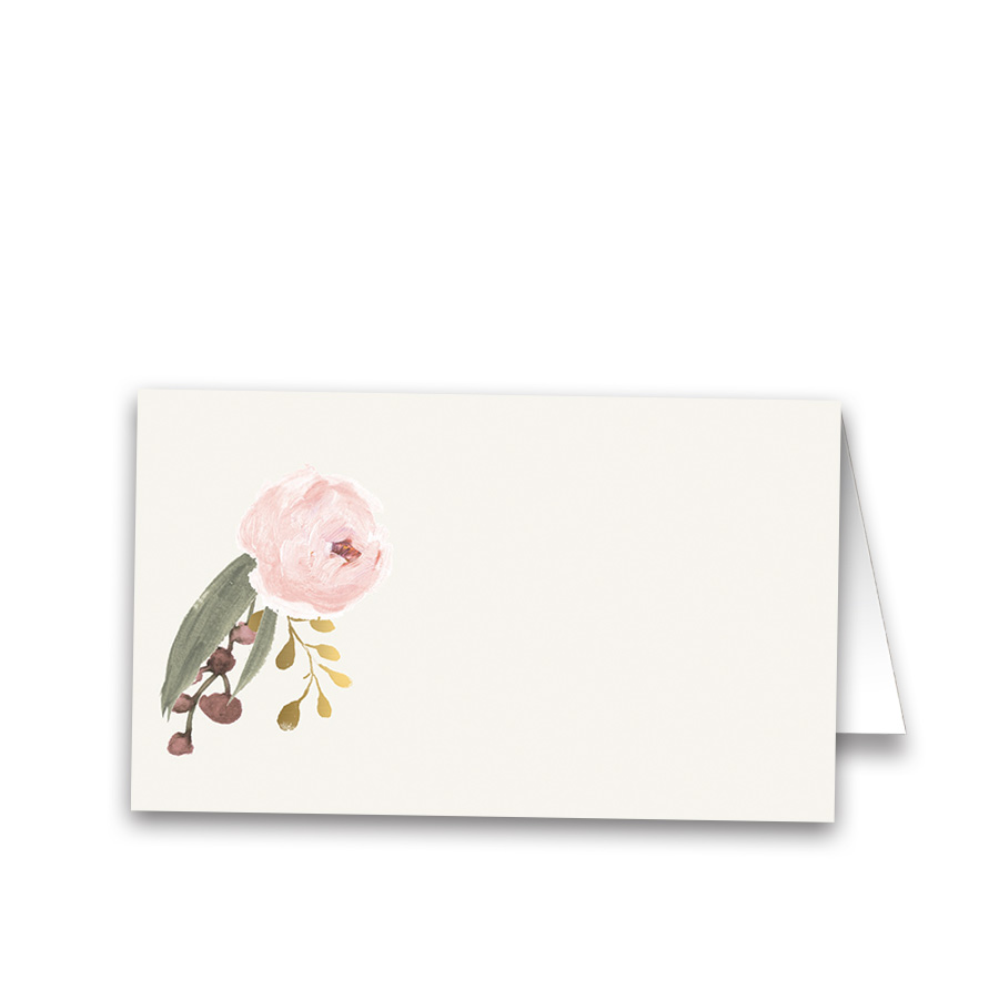 Blush Gold Watercolor Floral Wedding Escort Seating Card