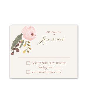 Blush Gold Floral Bohemian Wedding RSVP Response Card