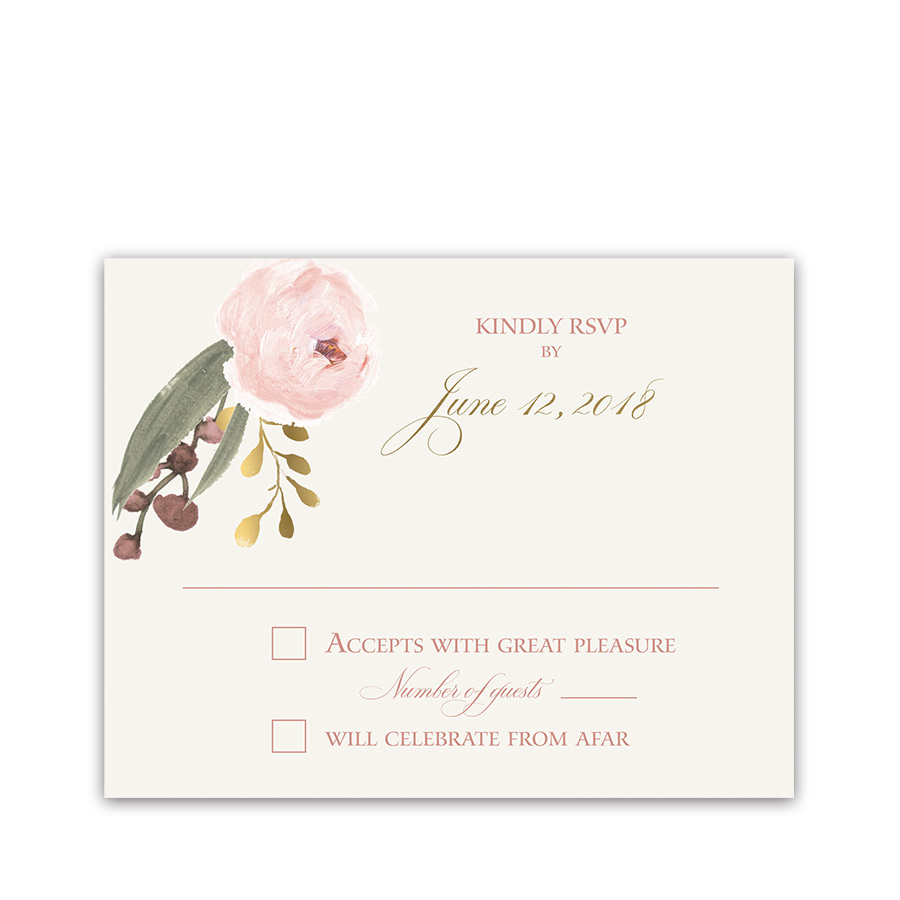Blush Gold Floral Bohemian Wedding RSVP Response Card