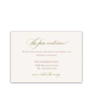 Blush Gold Script Boho Wedding Reception Details Card
