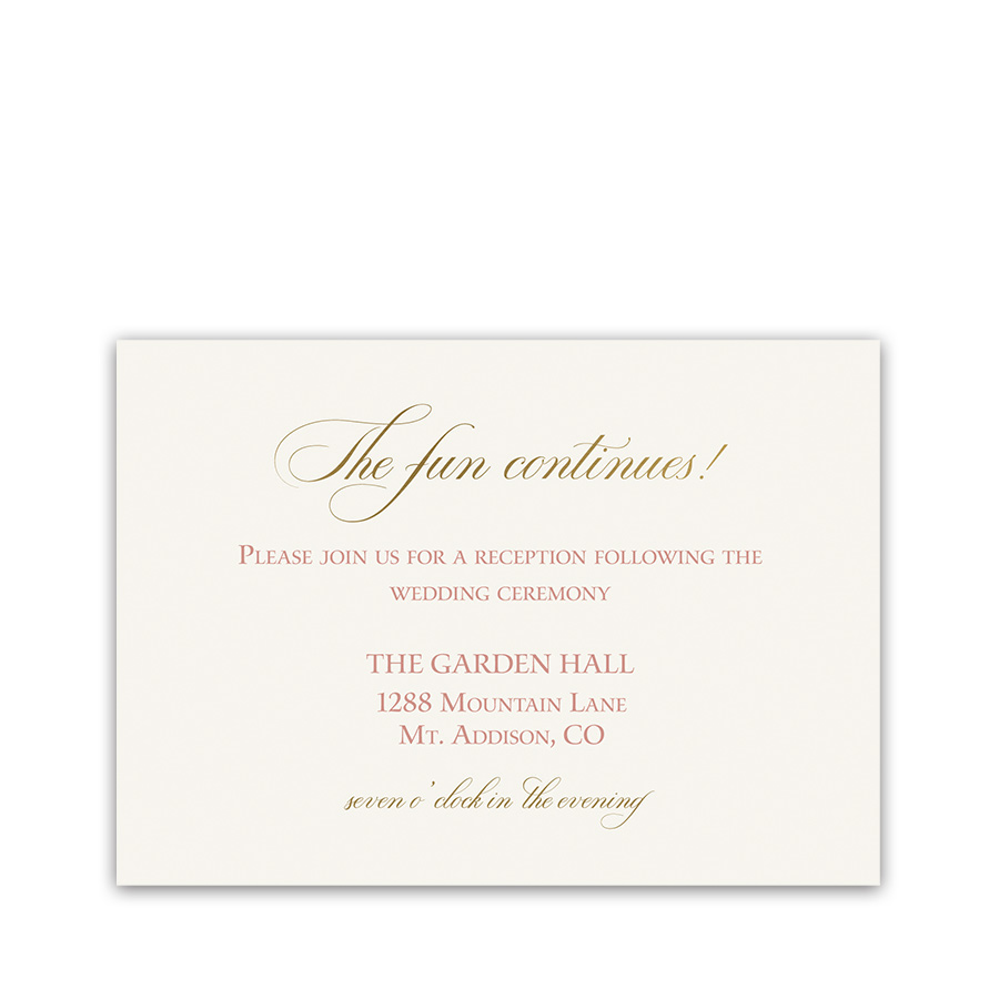 Blush Gold Script Boho Wedding Reception Details Card