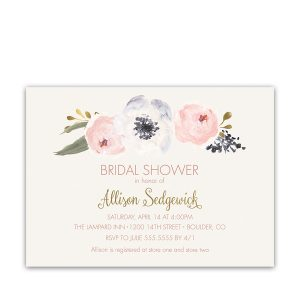 Blush Gold Watercolor Boho Floral Bridal Shower Invitations