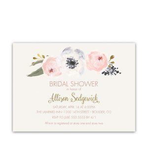 Blush Gold Watercolor Boho Floral Bridal Shower Invitations