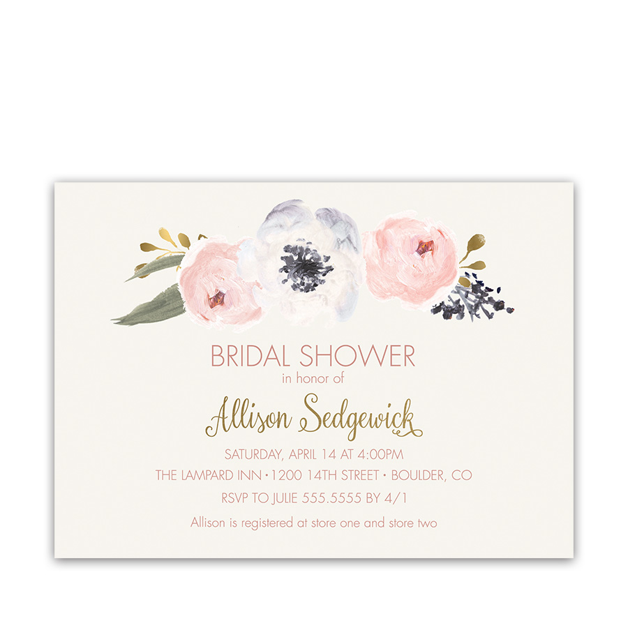 Blush Floral Bridal Shower Invitations Bohemian Styled Card