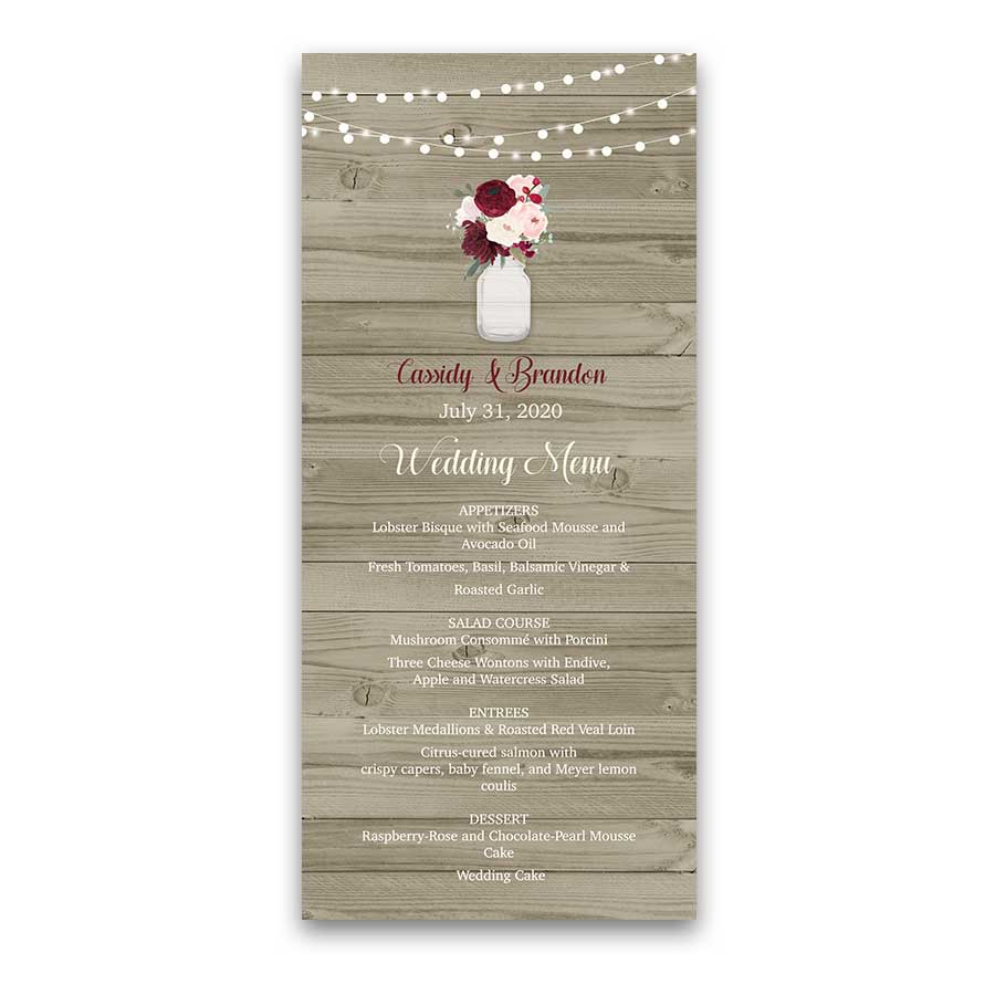 Rustic Mason Jar Burgundy Floral Custom Wedding Menu
