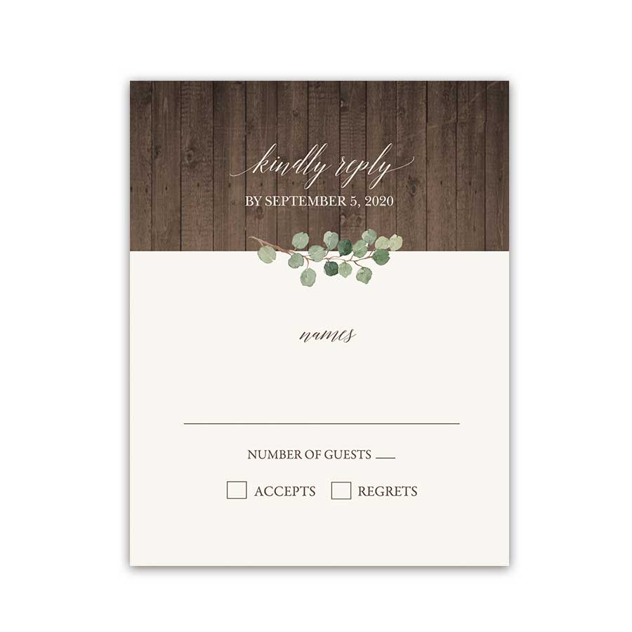 Eucalyptus Wedding RSVP Reply Cards Barn Wood Greenery