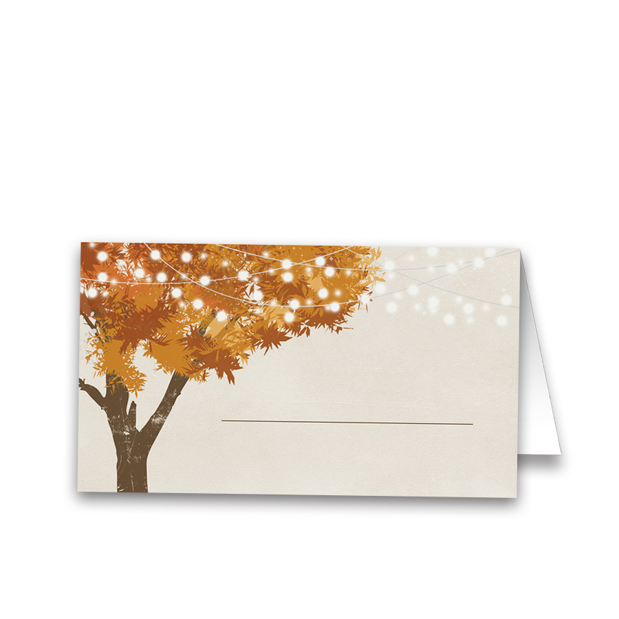 Rustic Fall Leaves Wedding Table Guest Seating Cards