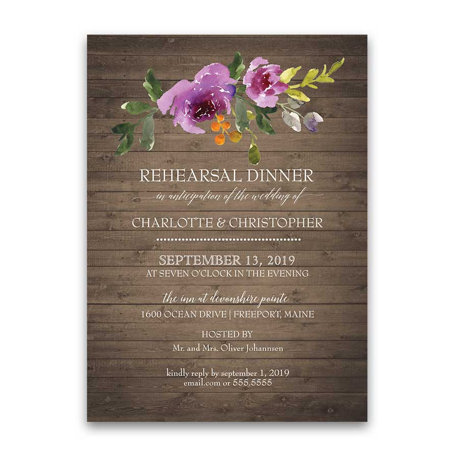 Floral Wedding Rehearsal Dinner Invitation Purple Orange Flowers