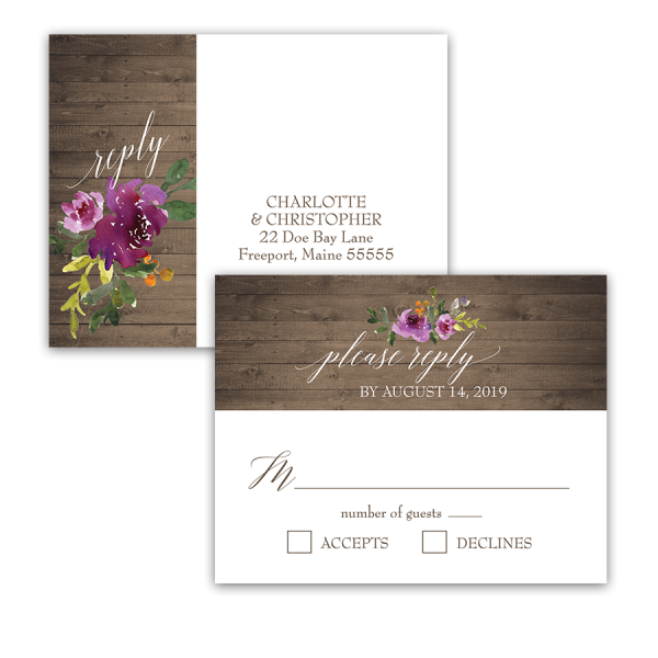 Rustic Purple Floral Wedding RSVP Response Postcard
