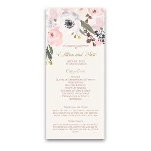 Blush Gold Watercolor Floral Greenery Wedding Programs