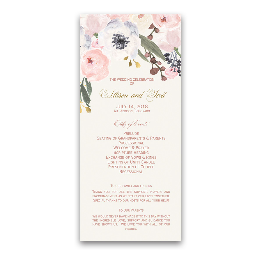 Blush Gold Watercolor Floral Greenery Wedding Programs