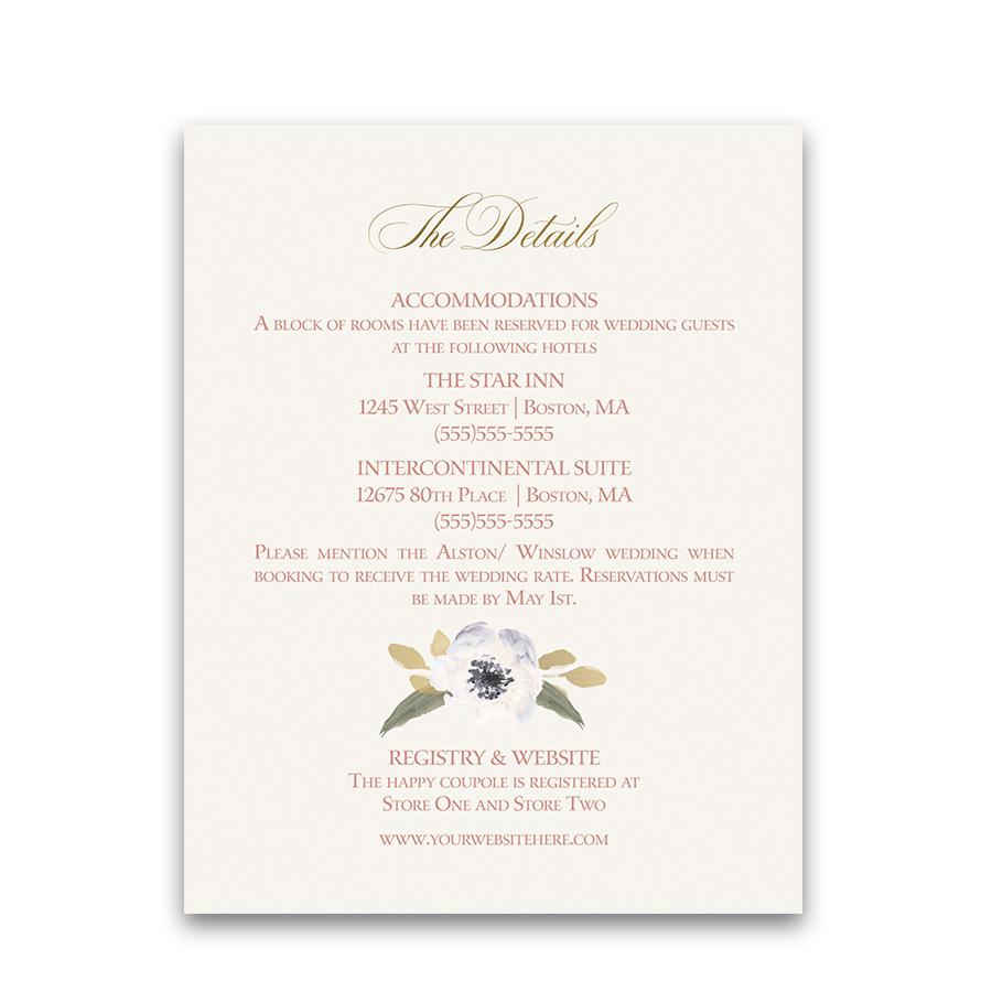 blush gold wedding guest information cards