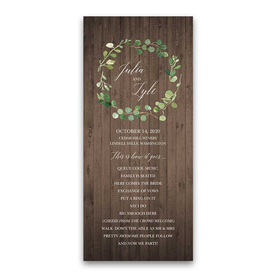 Greenery Wreath Watercolor Wedding Program Barn Wood
