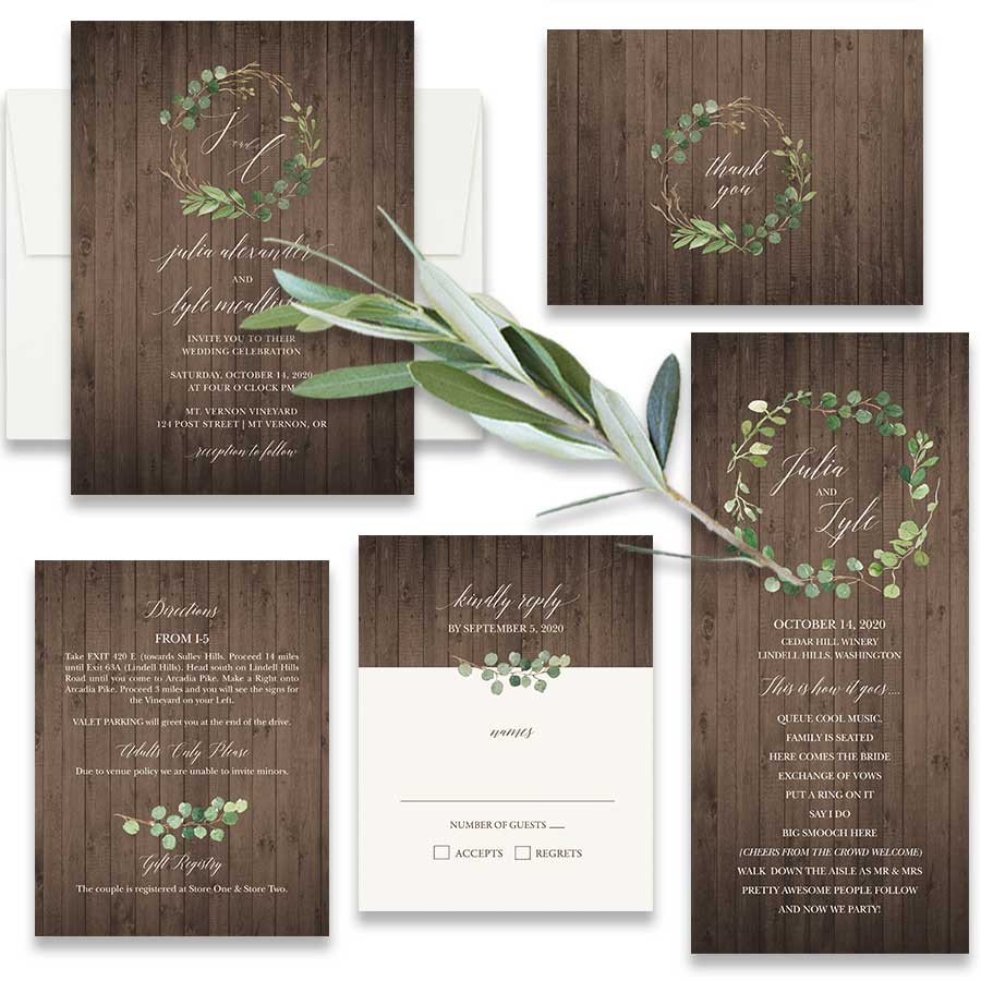 Vineyard Wedding Invitations Lush Greenery Rustic Barn Wood